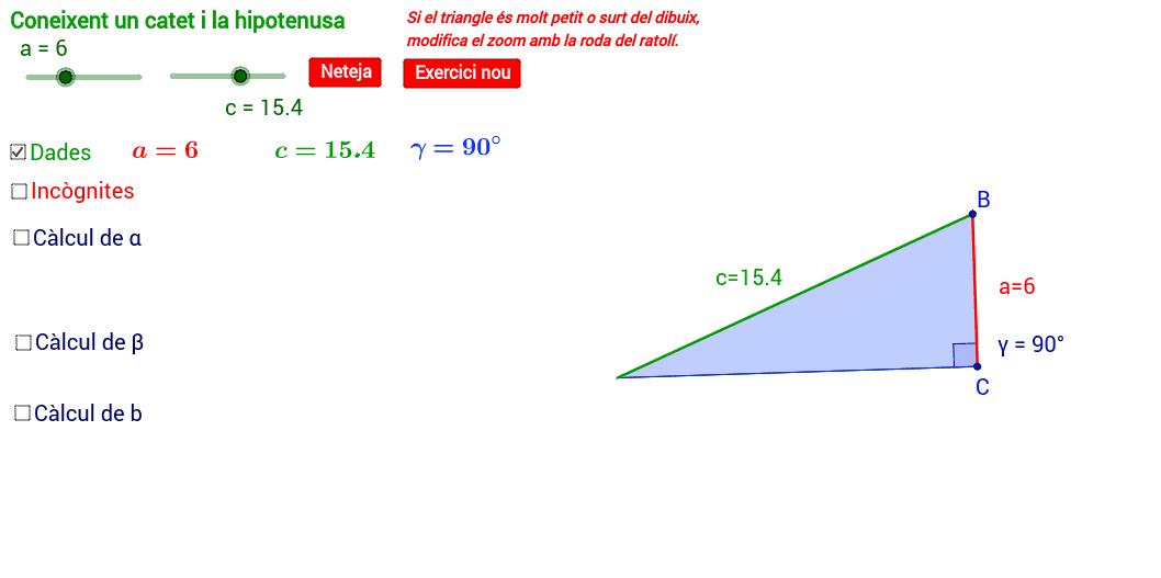 Resolució d'un triangle coneixent un catet i la hipotenusa.
