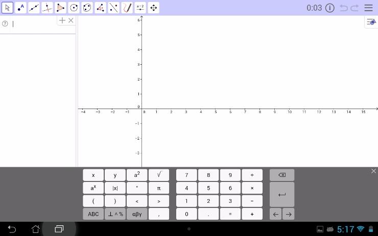 De blauwe hoofdbalk toont dat de GeoGebra Examen Grafisch rekenmachine Tablet App actief is.