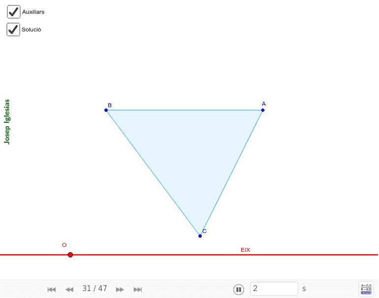 Troba el triangle homòleg d'aquest triangle que té un costat paral·lel a l'eix i amb el centre d'homologia contingut en ell.
