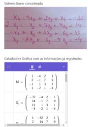 Calculadora Gráfica - Sistema Linear 4X4 - Regra de Cramer