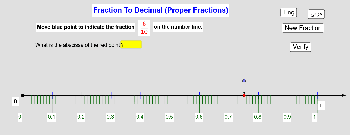 Converting A proper Fraction To A Decimal       تحويل كسر ناقص إلى عدد عشري Press Enter to start activity