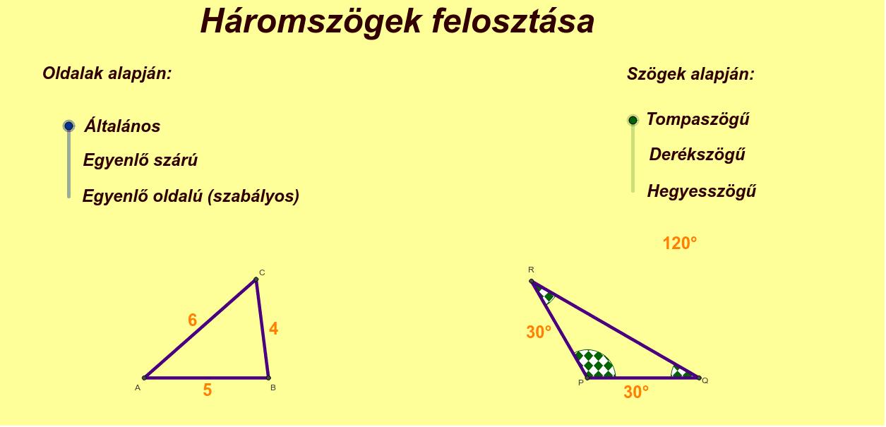 Hármoszögek felosztása