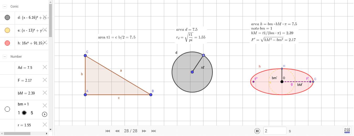 nota l'area del triangolo t1 calcolare il raggio di [d], bM', F' e F'' di [h]