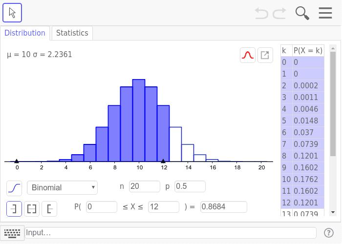 Binomialverteilung  B(n,k) Drücke die Eingabetaste um die Aktivität zu starten