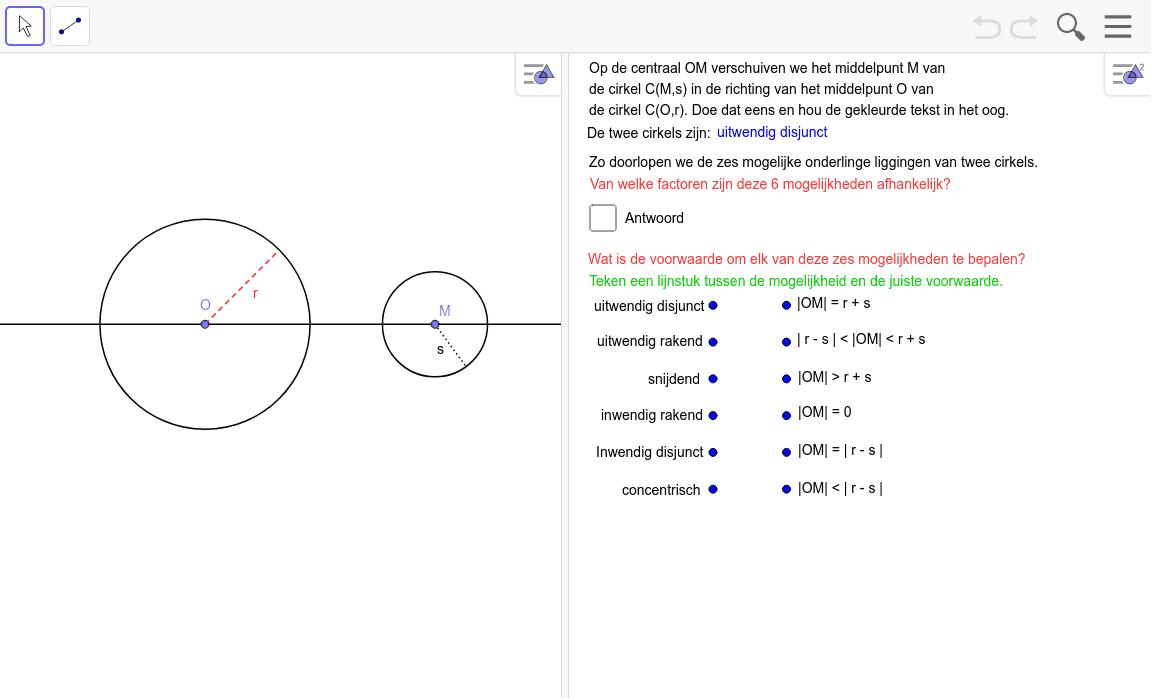 De centraal bij twee cirkels is de rechte door de twee middelpunten. Klik op Enter om de activiteit te starten