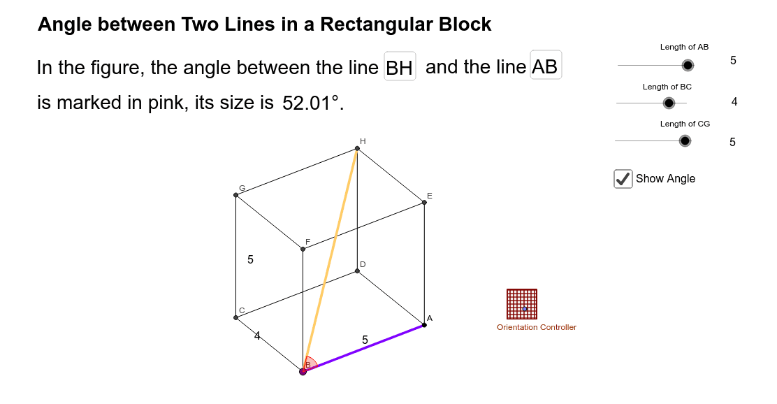 Angle between Two Lines in a Rectangular Block Press Enter to start activity