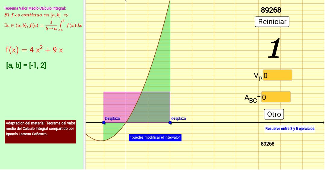 Adaptacion del material: Teorema del valor medio del Calculo Integral compartido por Ignacio Larrosa Cañestro.