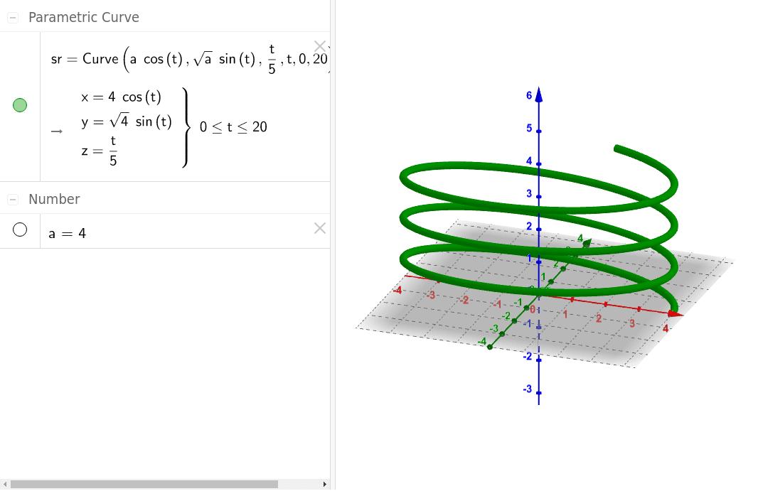 Schraube als elliptische Parameterkurve 3D Press Enter to start activity
