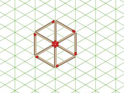 Doce cerillas y seis triángulos