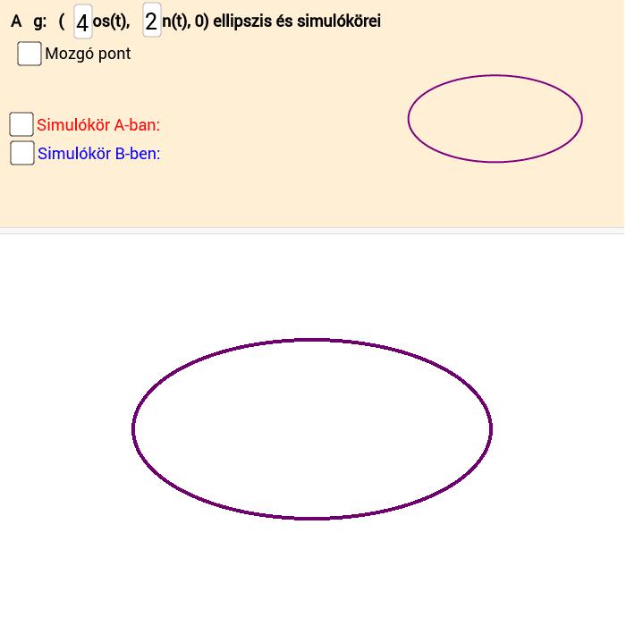 Simulókörök az  ellipszis tengelypontjaiban Press Enter to start activity