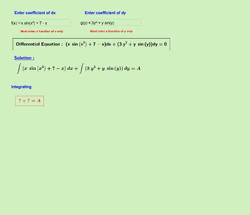 Separable Variables DE Solver – GeoGebra