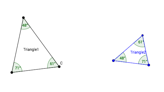 [b]AA(A) is not enough![/b]  Two pairs of congruent angles actually implies three pairs of congruent angles. Do you know why? In any case, Triangle1 and Triangle2 are clearly not congruent.