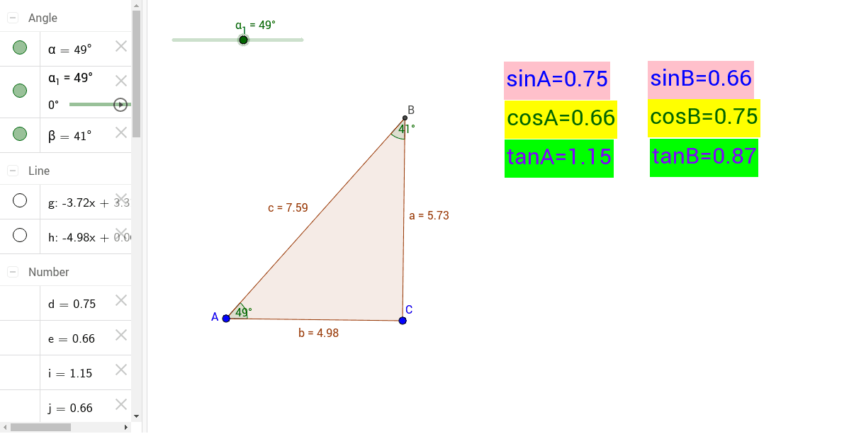 Move the slider to change angle A in the triangle.