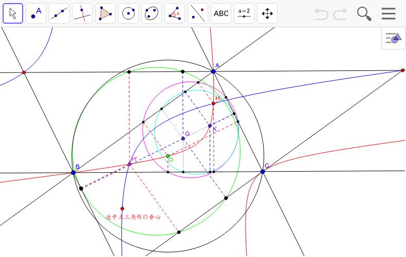 逆中点三角形のジェラベク双曲線も描いてみた。何か見えてこないだろうか。水色は重心の作る垂足円、桃色と黒の円は9点円。緑は逆中点三角形で重心の作る垂足円。ちなみにHとH'は等距離共役点。逆中点三角形の垂心と△ABCの垂心は等角共役点でオイラー線上にある。 ワークシートを始めるにはEnter キーを押してください。