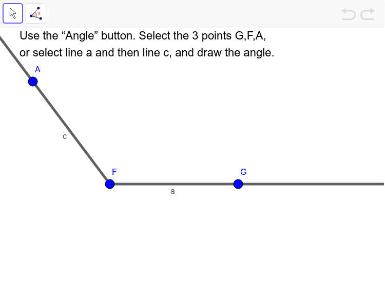 The Angle button allows you to draw an angle between 2 lines or 3 points. Press Enter to start activity