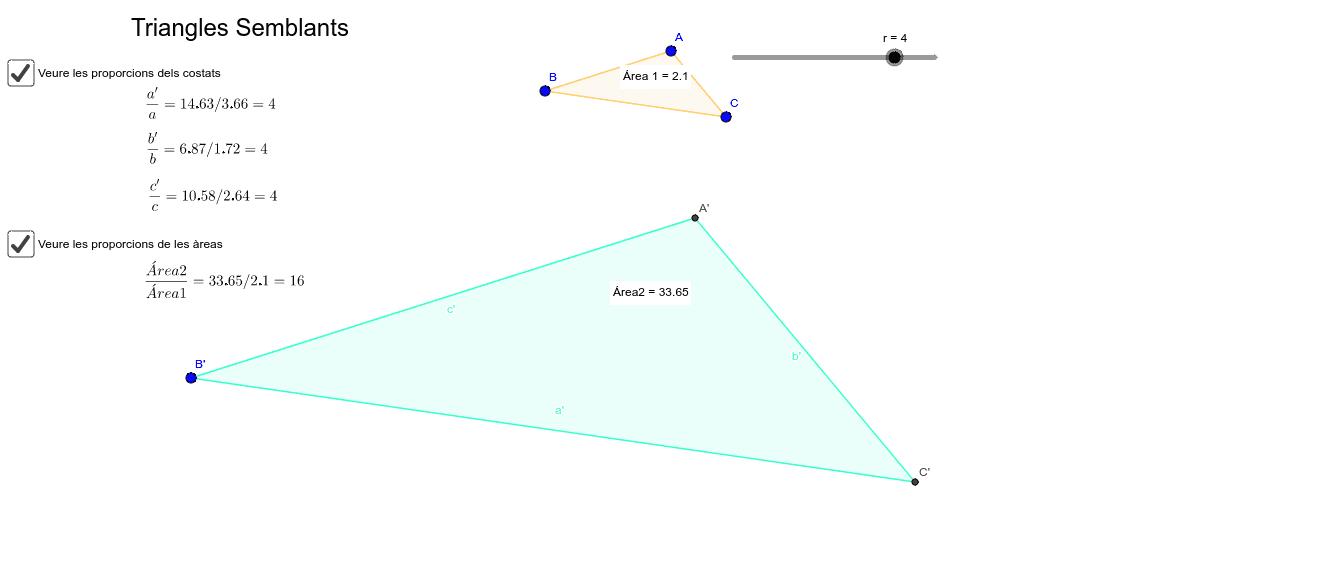 Moure la raó de semblança r per veure que el quocient entre les àrees de triangles semblants és el quadrat de la raó de semblança dels dos triangles.
