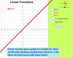 Simple Linear Function y = mx + b