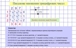 Письмове множення трицифрових чисел