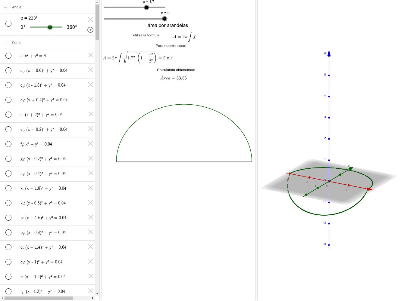Área de la superficie del elipsoide  Presiona Intro para comenzar la actividad