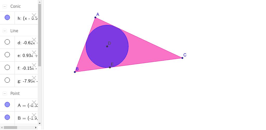 Circunferencia inscripta en un triángulo Press Enter to start activity