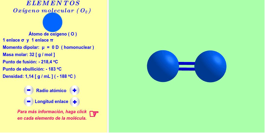 Molécula interactiva de oxígeno molecular . Los radios atómicos y las longitudes de los enlaces se pueden variar. Para más informaciones, haga click en cada átomo y enlace de la molécula.