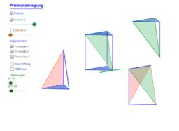 Zerlegung eines Prismas in drei Pyramiden