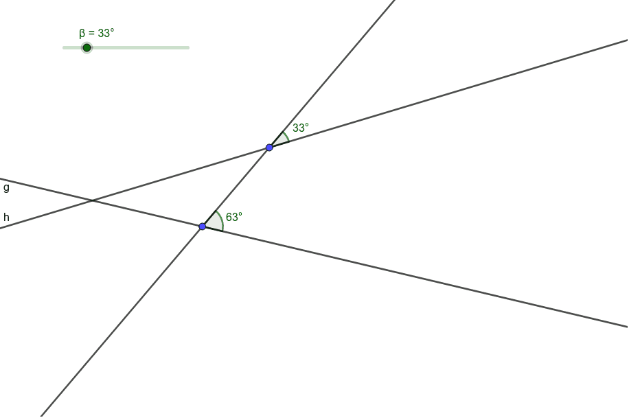 Move the slider so that line g and line h are parallel.