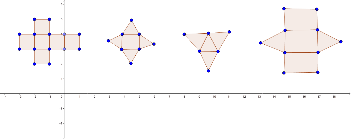 Can you correctly name each prism or pyramid from the nets shown below? Press Enter to start activity