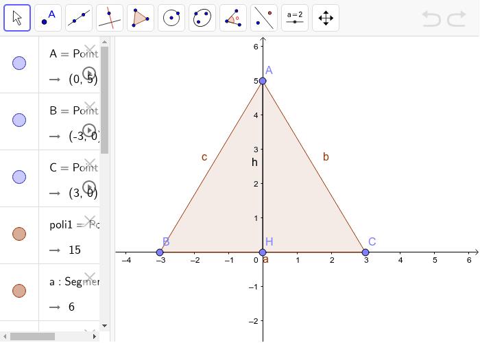 triangolo isoscele con altezza