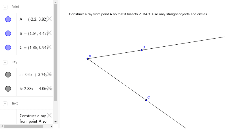 Construct a Ray that Bisects an Angle Press Enter to start activity