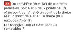 Triangles semblables : exercice 35 p 303 (Sesamath cycle 4)