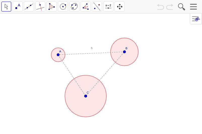 この3つの円に接する円を作図してみよう。ちなみにそういう円はいくつ作図できるか?