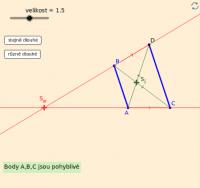 Př - najdi S (dány 2 rovnob. úsečky neležící na téže přímce)