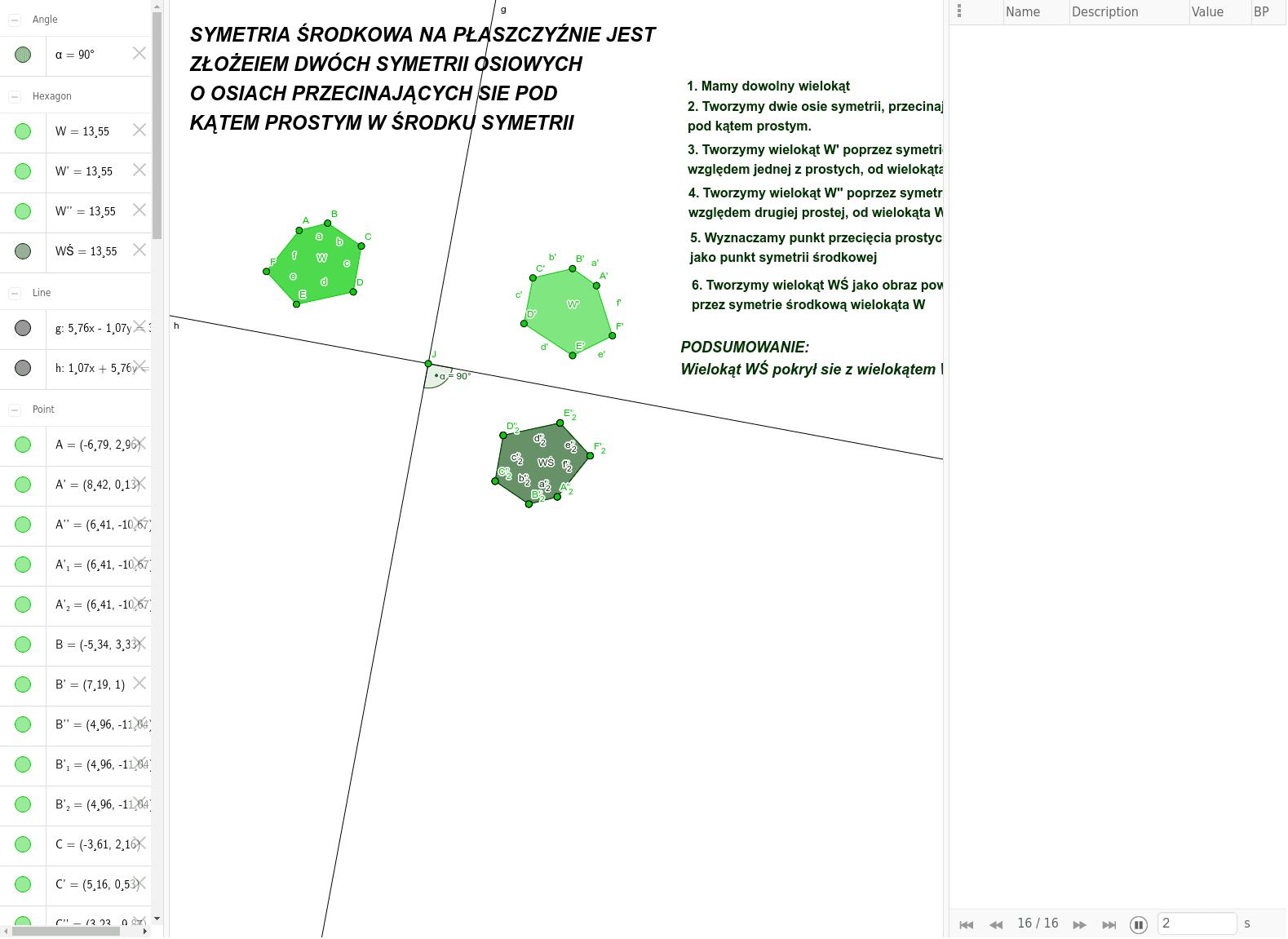 Symetria środkowa na płaszczyźnie