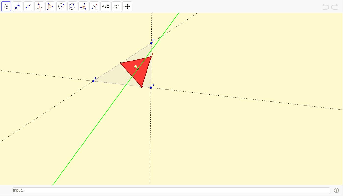 Cos vértices sobre os lados dun triángulo Press Enter to start activity