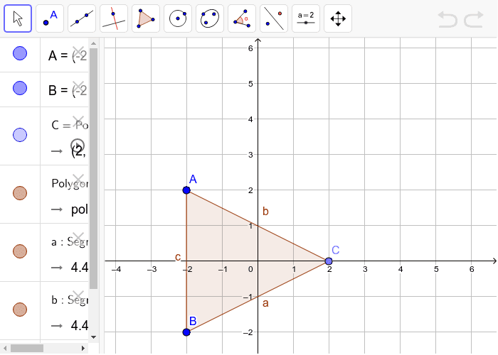 Part A: Draw the Symmetry/ Reflection of the following triangle with respect to the y- axis.