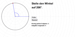 Winkel einstellen (0° bis 360°)