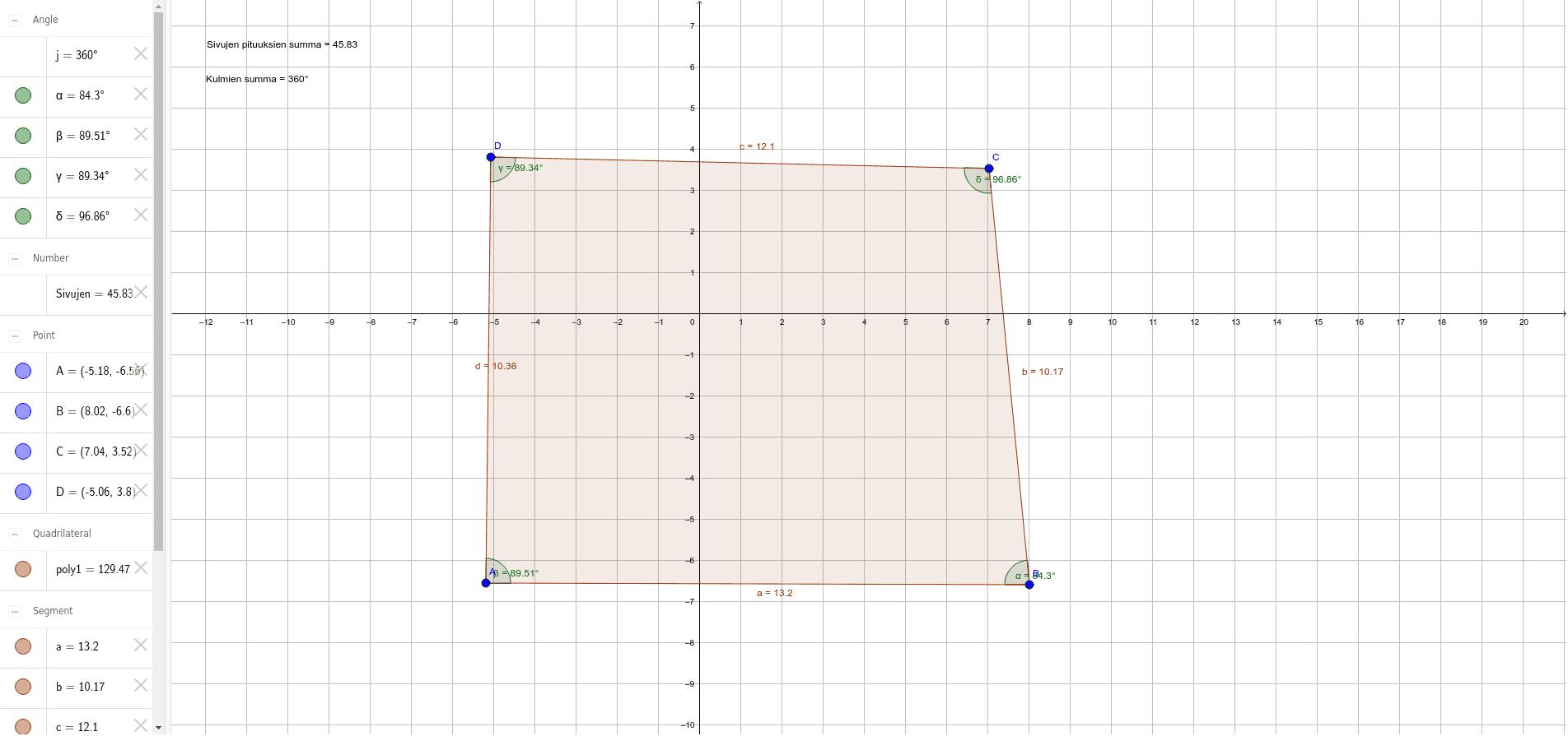 Nelikulmio: sivujen pituuksien ja kulmien summa