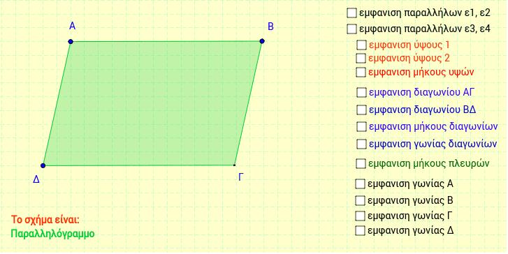 Παραλληλόγραμμα ύψη - διαγώνιες και γωνίες Είδος παραλληλογράμμου