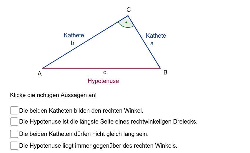 """Wiederhole die Grundbegriffe des rechtwinkeligen Dreiecks. Erst wenn du die richtigen Antworten ausgewählt hast, erscheint die Aussage:""""Gut gemacht!"""" Drücke die Eingabetaste um die Aktivität zu starten"""