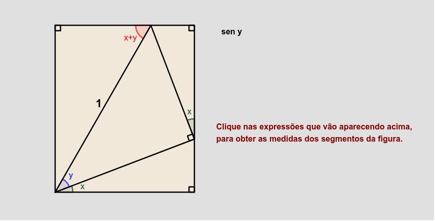 Uma dedução simples da fórmula para ângulos x, y e x+y agudos. Press Enter to start activity