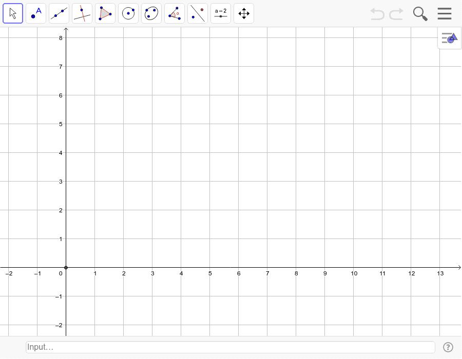Disegna la retta r passante per i punti A(1,1) e B(5,3). Poi la retta s perpendicolare a r passante per C(2,4), ed infine la retta t perpendicolare a s passante per D(3,7). Premi Invio per avviare l'attività