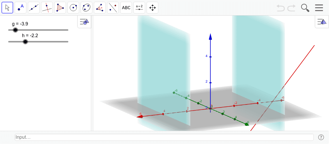直線で双曲放物面を作る方法。左下の▷をクリックしてアニメーションを動かそう。二つのグラフィックスの間をずらすと軌跡が消える。gとhの間を変えると面が変わる。 ワークシートを始めるにはEnter キーを押してください。
