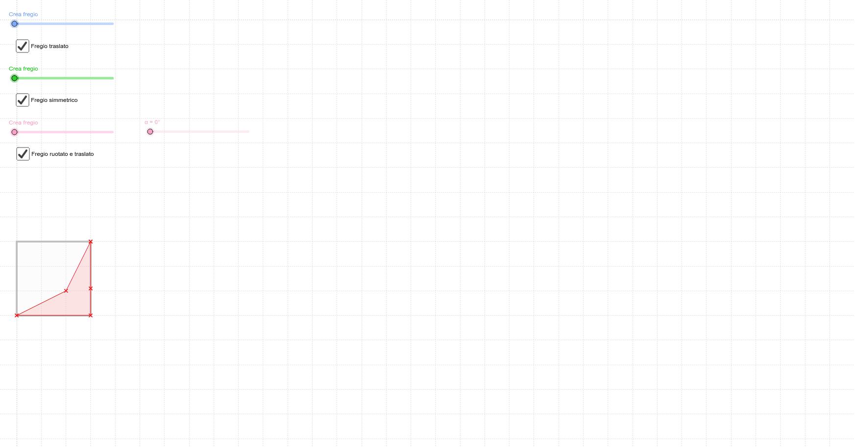 Muovi i punti rossi per crearti un timbro. Scorri gli slider per ottenere i fregi. Premi Invio per iniziare l'attività