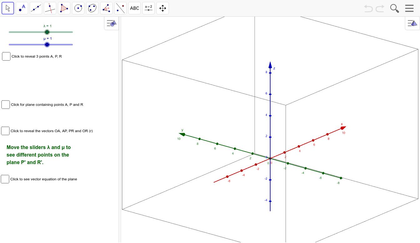 The vector equation of the plane – GeoGebra