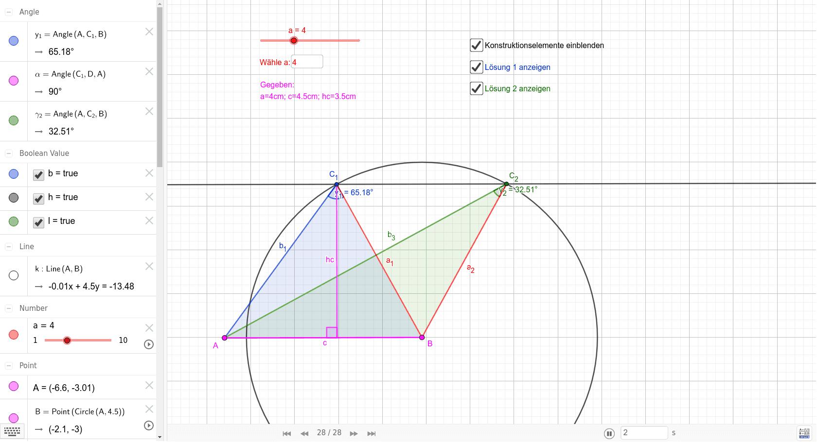 Aufgabenstellung: Konstruieren Sie alle möglichen Dreiecke aus: a=4 cm; c=4,5cm; hc=3,5cm