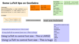 LaTeX tips on GeoGebra