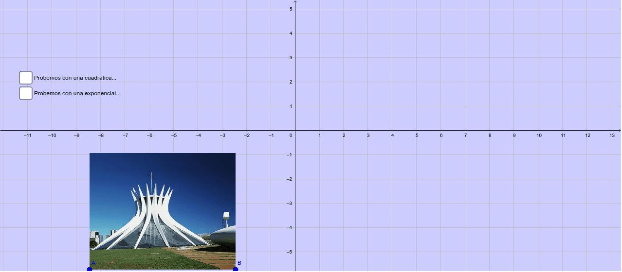 Ojo con las opciones... al marcar una, aparecerán los deslizadores que modifican a la curva (una cuadrática o una exponencial, según el caso)... verifica cuál te parece mejor...