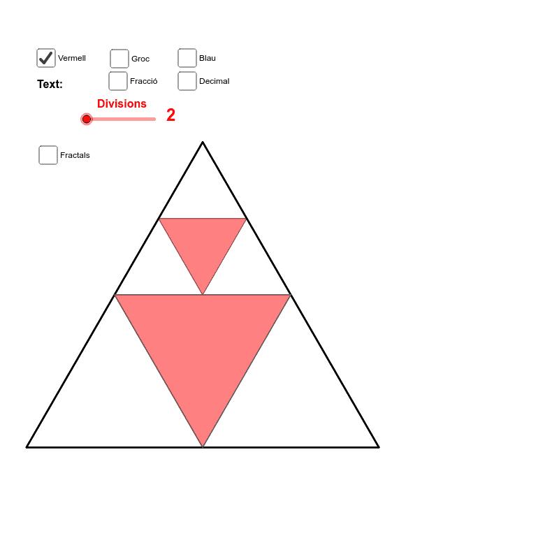 Si considerem 1u² la superfície del triangle gran, i fem la suma d'infinits triangles de color vermell, quin valor tindrà aquesta suma? Premeu Enter per iniciar l'activitat