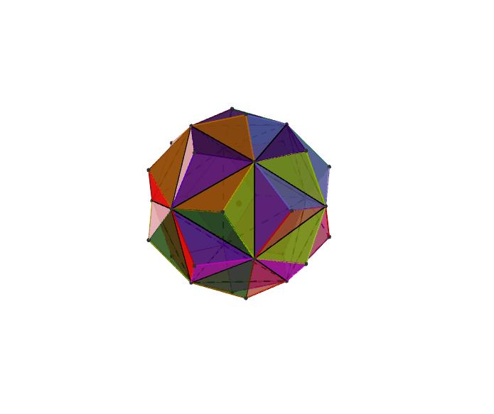 正20面体の面を延長してできる星型多面体。面は六角形になる。 ワークシートを始めるにはEnter キーを押してください。